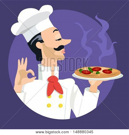 high quality original trendy vector illustration of a pizza cook or chef