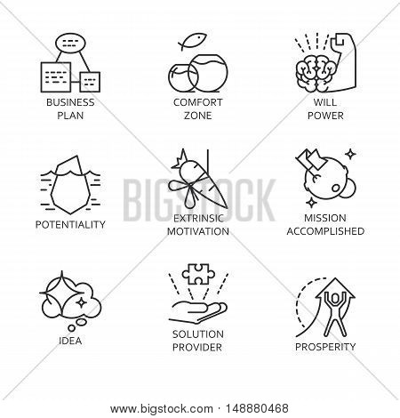 Black flat line vector set icons with a picture of a symbol business process and conducting business on white background.