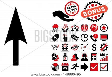 Arrow Axis Y pictograph with bonus pictogram. Glyph illustration style is flat iconic bicolor symbols, intensive red and black colors, white background.
