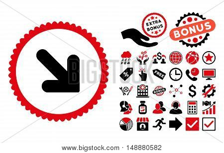 Arrow Down Right pictograph with bonus images. Glyph illustration style is flat iconic bicolor symbols, intensive red and black colors, white background.