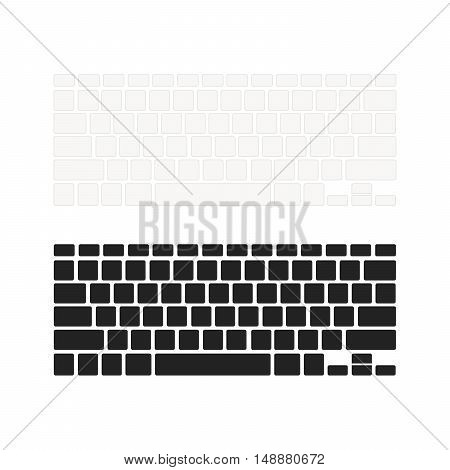 Set of notebook keyboards with empty buttons in different colours on white
