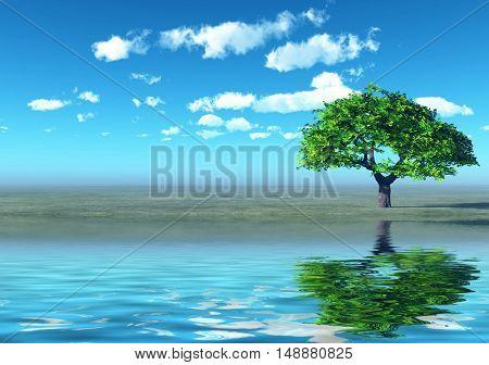 trees in the flood - digital artwork
