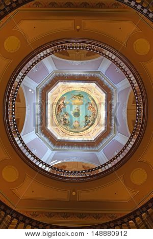 South Bend, IN, USA - June 24, 2016: Interior of Golden Dome at the University of Notre Dame campus in  South Bend, Indiana.