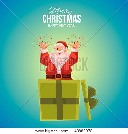 Cartoon style Santa Claus popping out of gift box, Christmas vector greeting card, blue background. Full length portrait of Santa popping out of a present box, greeting card template for Christmas eve