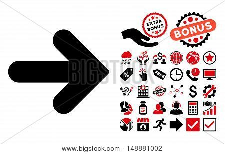 Arrow Right icon with bonus icon set. Glyph illustration style is flat iconic bicolor symbols, intensive red and black colors, white background.