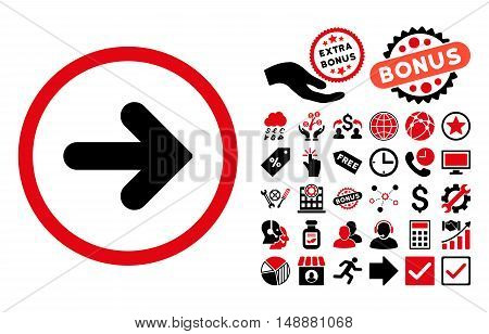 Arrow Right pictograph with bonus icon set. Glyph illustration style is flat iconic bicolor symbols, intensive red and black colors, white background.