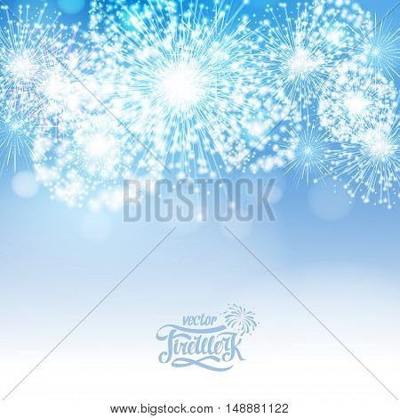 Vector Blue Holiday Fireworks