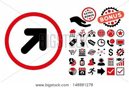 Arrow Up Right icon with bonus icon set. Glyph illustration style is flat iconic bicolor symbols, intensive red and black colors, white background.