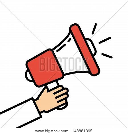 Hand holding red megaphone on white background. Concept of announcement, broadcasting or warning.