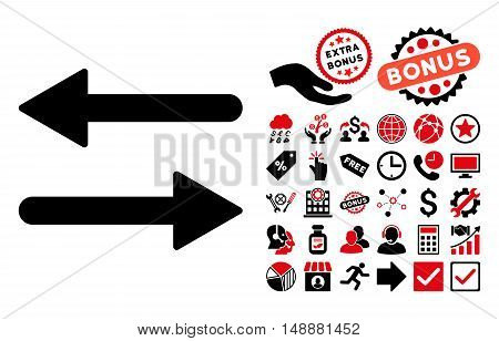 Arrows Exchange Horizontal pictograph with bonus images. Glyph illustration style is flat iconic bicolor symbols, intensive red and black colors, white background.
