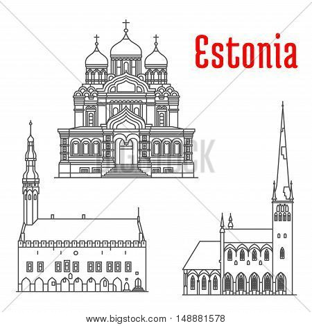 Estonia historic architecture landmarks, sightseeings, famous showplaces. Alexander Nevsky Cathedral, Tallinn Town Hall, St Olaf church. Vector thin line icons of for souvenir decoration elements