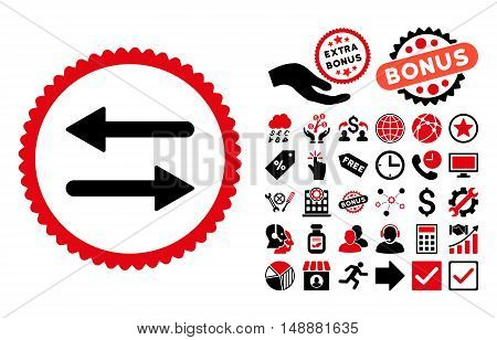 Arrows Exchange icon with bonus elements. Glyph illustration style is flat iconic bicolor symbols, intensive red and black colors, white background.