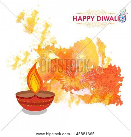 Creative illuminated Oil Lamp (Diya) on abstract watercolor splash background, Elegant Greeting Card design for Indian Festival of Lights, Happy Diwali celebration.