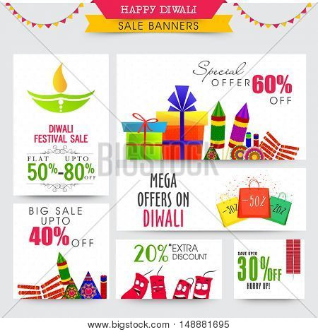 Happy Diwali Sale Banner set with Discount Offer, Social Media Post collection with various colorful elements for Indian Festival of Lights celebration.
