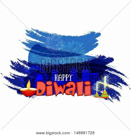 Creative abstract festive background with firework explosion over urban cityscape, Elegant Poster, Banner or Flyer for Indian Festival, Happy Diwali celebration.