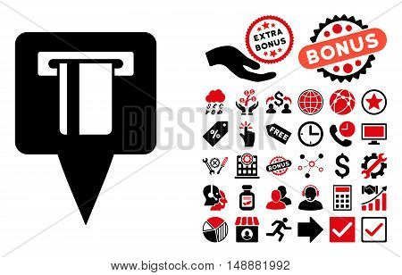 ATM Machine Map Pointer pictograph with bonus clip art. Glyph illustration style is flat iconic bicolor symbols, intensive red and black colors, white background.