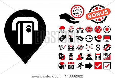 ATM Machine Pointer icon with bonus clip art. Glyph illustration style is flat iconic bicolor symbols, intensive red and black colors, white background.