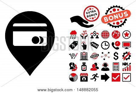 ATM Map Marker pictograph with bonus symbols. Glyph illustration style is flat iconic bicolor symbols, intensive red and black colors, white background.