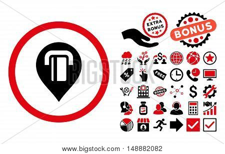 ATM Map Marker pictograph with bonus pictogram. Glyph illustration style is flat iconic bicolor symbols, intensive red and black colors, white background.