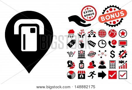 ATM Map Pointer pictograph with bonus elements. Glyph illustration style is flat iconic bicolor symbols, intensive red and black colors, white background.