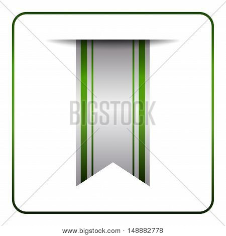 Green bookmark banner. Vertical book mark isolated on white background. Color tag label. Flag symbol sign. Design element blank. Empty sticker sale. Template icon decoration. Vector illustration.