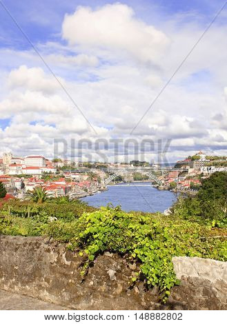 View on Bridge Maria Pia and Douro river in Porto, Portugal