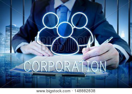 Corporation Team Leadership Partnership Concept