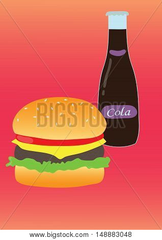 Simple illustration of burger and soda. Flat design.  Vector poster of fast food