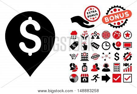 Bank Map Marker icon with bonus icon set. Glyph illustration style is flat iconic bicolor symbols, intensive red and black colors, white background.