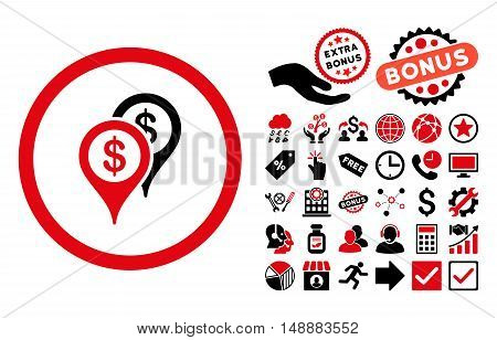 Bank Places pictograph with bonus images. Glyph illustration style is flat iconic bicolor symbols, intensive red and black colors, white background.