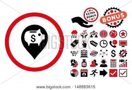 Bank Pointer pictograph with bonus pictogram. Glyph illustration style is flat iconic bicolor symbols, intensive red and black colors, white background.