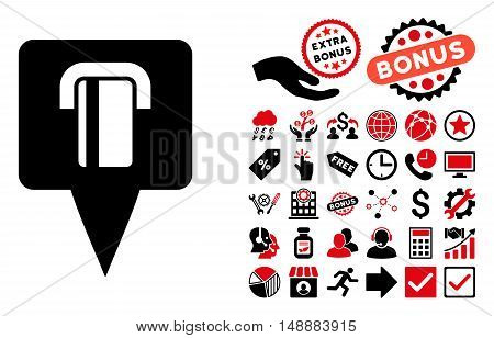 Bank Terminal Map Pointer pictograph with bonus elements. Glyph illustration style is flat iconic bicolor symbols, intensive red and black colors, white background.