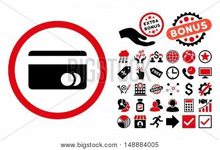 Banking Card icon with bonus symbols. Glyph illustration style is flat iconic bicolor symbols, intensive red and black colors, white background.