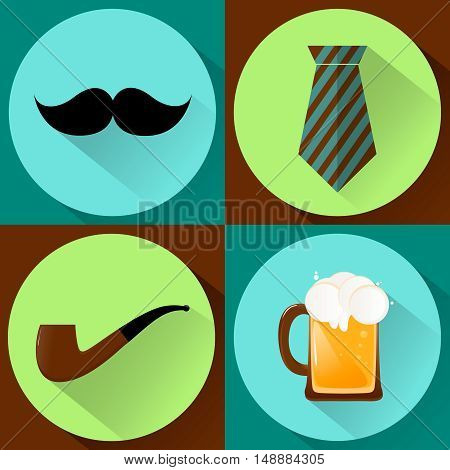 vector illustration happy father's day flat set