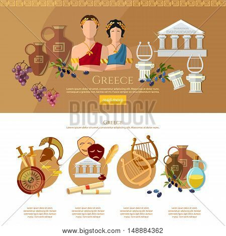 Ancient Greece and Ancient Rome infographics tradition and culture vector illustration