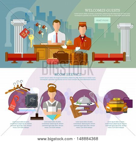 Hotel service infographics hotel staff reservation motel vector illustration