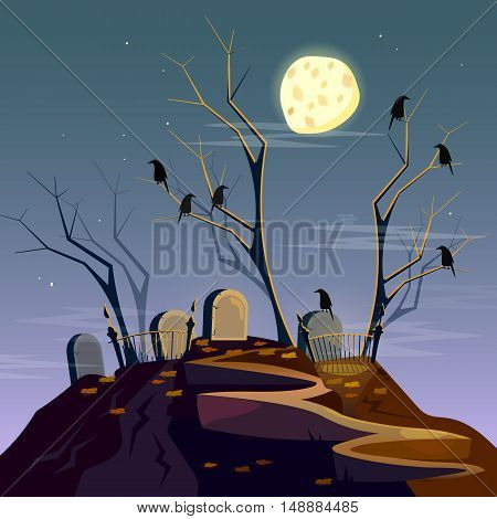 Halloween background graveyard at night cartoon spooky forest with dead trees vector
