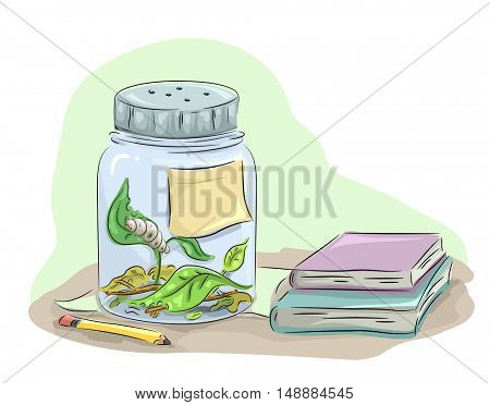 Animal Illustration Featuring a Caterpillar Kept Inside a Glass Jar Munching on Leaves