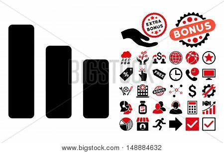 Bar Chart Decrease pictograph with bonus elements. Glyph illustration style is flat iconic bicolor symbols, intensive red and black colors, white background.