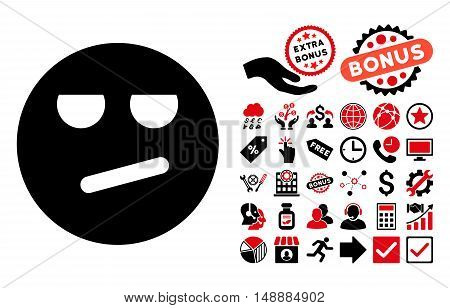 Bored pictograph with bonus pictogram. Glyph illustration style is flat iconic bicolor symbols, intensive red and black colors, white background.