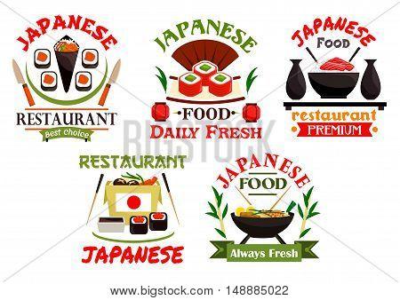 Japanese food restaurant emblems. Sushi, rolls, seafood wok, salmon, sashimi, wasabi, steamed rice, bamboo chopsticks, tea, soy sauce. Oriental cuisine label for menu card signboard leaflet flyer
