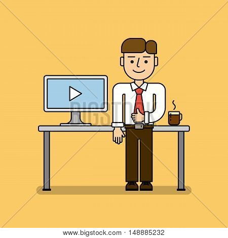 Business webinar concept. Man with coffee cup and laptop. Idea of online learning, tutoring and more. Distance instructor, teacher or student.