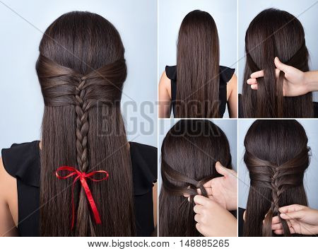 Hairstyle for long hair. Simple braid hairstyle with red bow for celebration new year. Hairstyle. Tutorial. Hair model