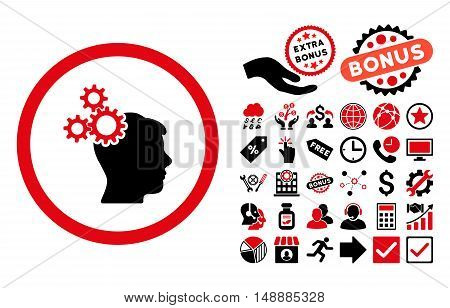 Business Idea icon with bonus pictogram. Glyph illustration style is flat iconic bicolor symbols, intensive red and black colors, white background.