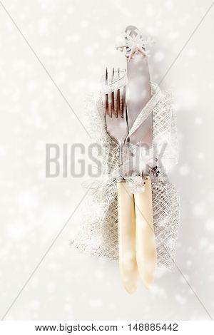 Christmas Table Setting Over White