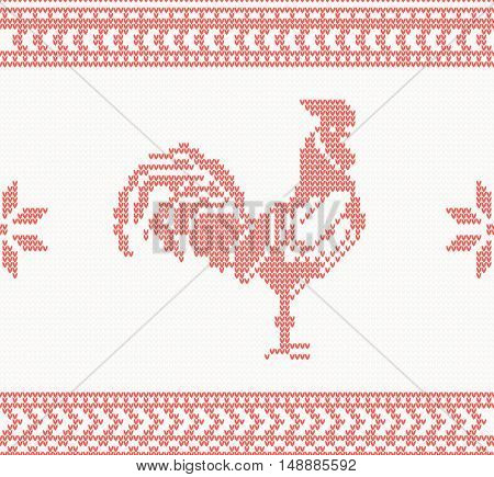 Knitted Rooster Seamless Pattern in Red Color. Vector Illustration. Symbol of 2017 on the Chinese Calendar. Christmas concept for banner, placard, billboard or web site. New Year Card and Background.