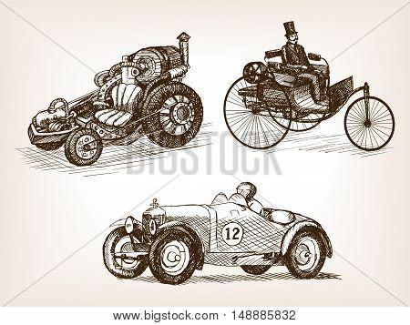 Vintage retro cars set sketch style vector illustration. Transport set. Old engraving imitation.