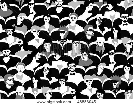 Audience group people sitting black and white seamless pattern. Monochrome vector illustration. EPS8