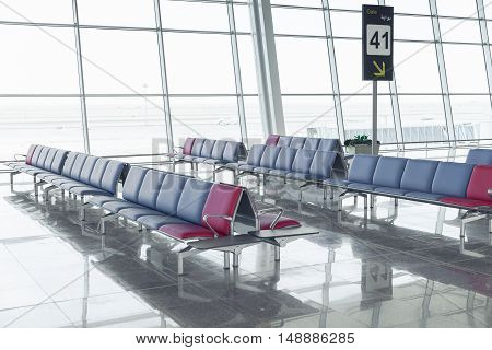 Modern Airport Departure Lounge - Empty Seat Rows