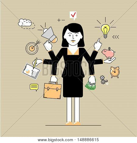 Multitasking. Business woman has time to do a lot of things at once. Flat linear vector illustration